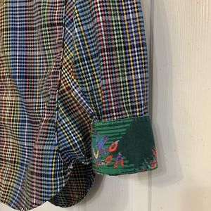 EUC Checkered Plaid Long Sleeved Embroidered  Lrg
